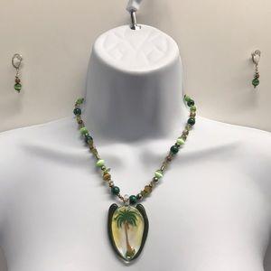 Artisan Lampwork pendant necklace & earring set